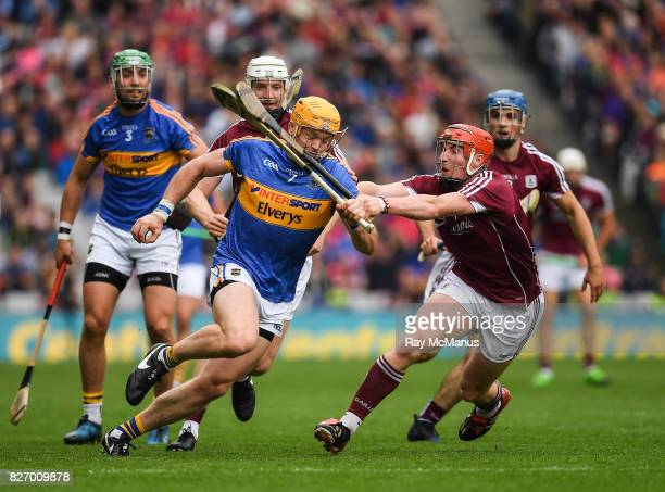 Dublin Ireland 6 August 2017 Padraic Maher of Tipperary is tackled by Conor Whelan of Galway during the GAA Hurling AllIreland Senior Championship...