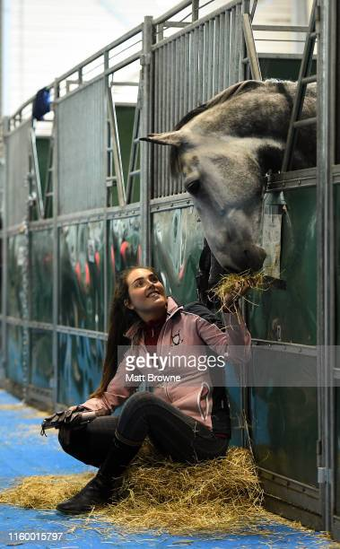 Dublin Ireland 6 August 2019 Hannah Doherty from Tara Co Meath with her horse Darcystown Brillant Disguise who are competing in the Irish Draught...