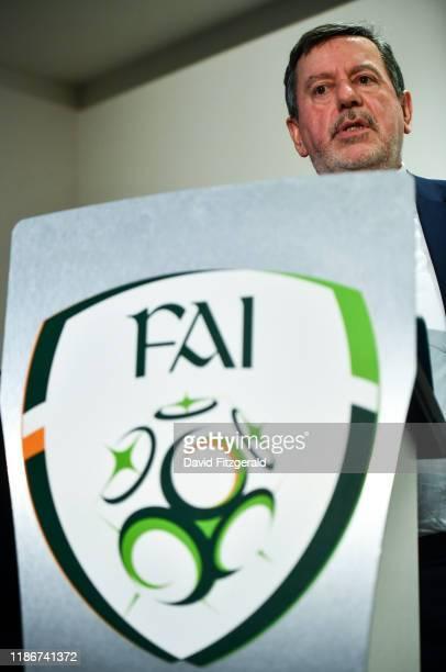 Dublin , Ireland - 6 December 2019; FAI President Donal Conway during an FAI Press Conference at FAI HQ in Abbotstown, Dublin.
