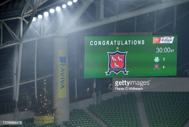 Dublin , Ireland - 6 December 2020; A general view of the scoreboard after the Extra.ie FAI Cup Final match between Shamrock Rovers and Dundalk at...