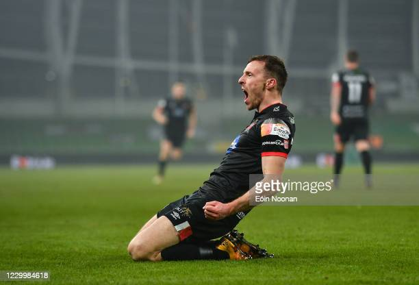 Dublin , Ireland - 6 December 2020; David McMillan of Dundalk celebrates after scoring his side's first goal during the Extra.ie FAI Cup Final match...