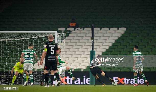 Dublin , Ireland - 6 December 2020; David McMillan of Dundalk shoots to score his side's first goal during the Extra.ie FAI Cup Final match between...