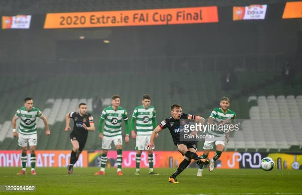 Dublin , Ireland - 6 December 2020; David McMillan of Dundalk shoots to score his side's second goal from a penalty during the Extra.ie FAI Cup Final...