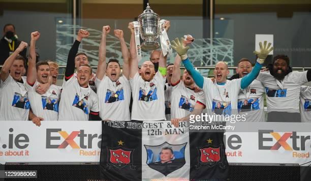 Dublin , Ireland - 6 December 2020; Dundalk captain Chris Shields and team-mates celebrate after winning the Extra.ie FAI Cup Final match between...