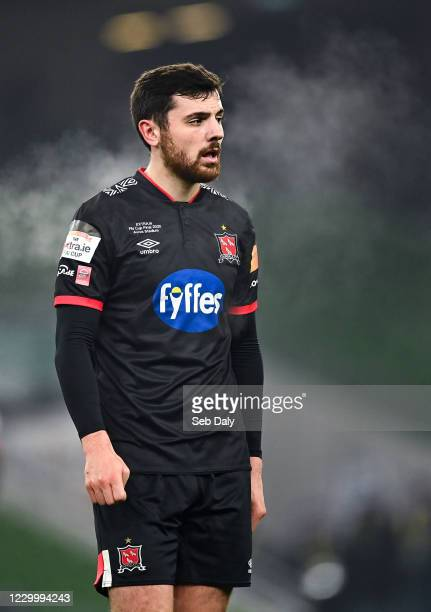 Dublin , Ireland - 6 December 2020; Jordan Flores of Dundalk during the Extra.ie FAI Cup Final match between Shamrock Rovers and Dundalk at the Aviva...