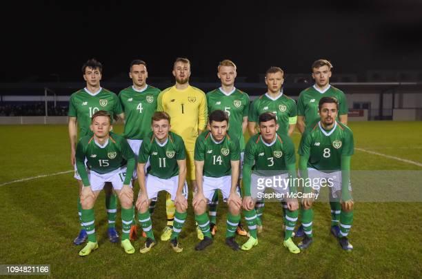 Dublin , Ireland - 6 February 2019; The Republic of Ireland U21's team, back row, from left, Neil Farrugia, Conor McCarthy, Conor Kearns, Liam...