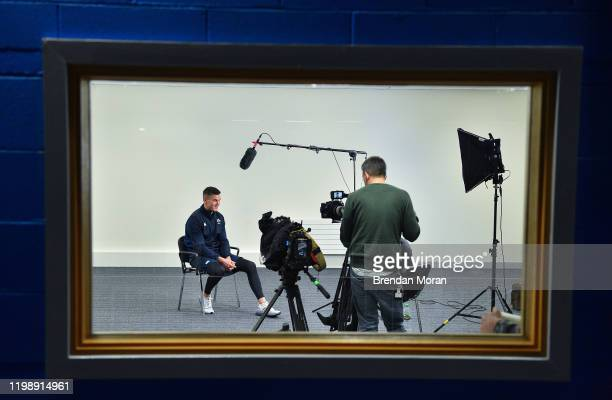 Dublin Ireland 6 February 2020 Ireland captain Jonathan Sexton is interviewed by television during an Ireland Rugby press conference at the Sport...