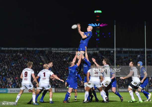 Dublin Ireland 6 January 2018 Devin Toner of Leinster wins a lineout during the Guinness PRO14 Round 13 match between Leinster and Ulster at the RDS...
