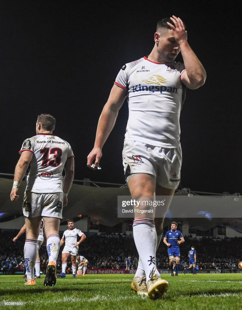 Dublin , Ireland - 6 January 2018; John Cooney of Ulster reacts after conceiding a try during the Guinness PRO14 Round 13 match between Leinster and Ulster at the RDS Arena in Dublin.