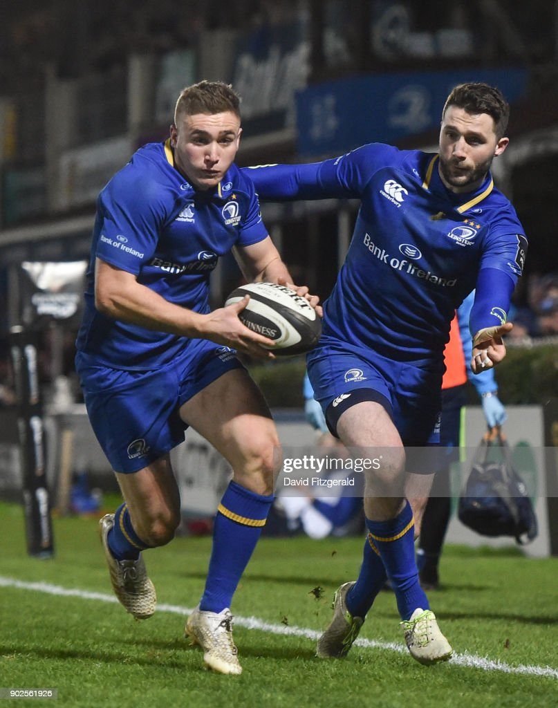 Dublin , Ireland - 6 January 2018; Jordan Larmour, left, and Barry Daly of Leinster during the Guinness PRO14 Round 13 match between Leinster and Ulster at the RDS Arena in Dublin.
