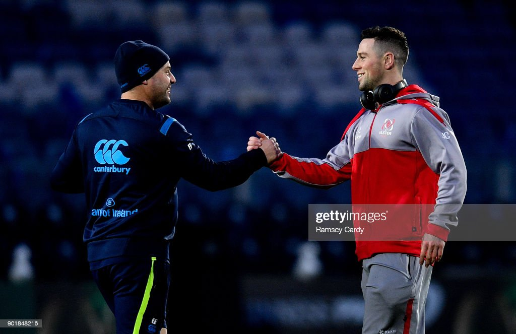 Dublin , Ireland - 6 January 2018; Leinster kicking coach and head analyst Emmet Farrell shakes hands with John Cooney of Ulster ahead of the Guinness PRO14 Round 13 match between Leinster and Ulster at the RDS Arena in Dublin.