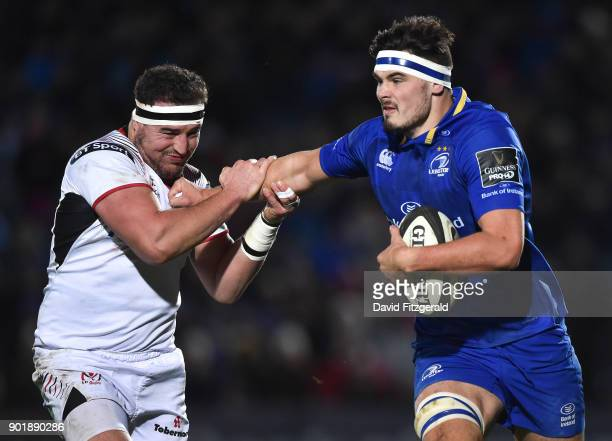 Dublin Ireland 6 January 2018 Max Deegan of Leinster is tackled by Rob Herring of Ulster during the Guinness PRO14 Round 13 match between Leinster...
