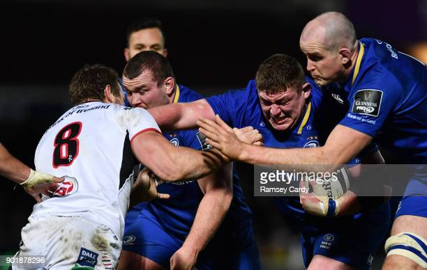 Dublin Ireland 6 January 2018 Tadhg Furlong of Leinster supported by Devin Toner is tackled by Jean Deysel of Ulster during the Guinness PRO14 Round...
