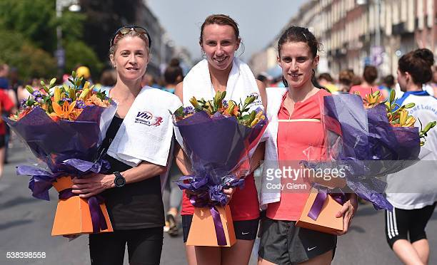 Dublin Ireland 6 June 2016 Top three finishers from left second place Natasha Adams from Letterkenny Co Donegal first place Siobhan O'Doherty from...