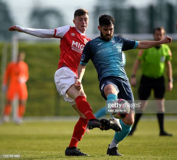 Dublin , Ireland - 6 March 2021; Darren Murphy of Cobh Ramblers in action against Ben McCormack of St Patricks Athletic during the Pre-Season...