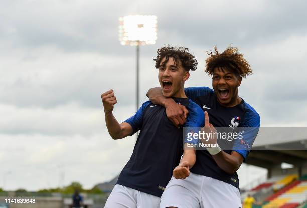 Dublin Ireland 6 May 2019 Adil Aouchiche left of France celebrates with teammate Georginio Rutter after scoring his side's second goal of the game...