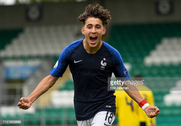 Dublin Ireland 6 May 2019 Adil Aouchiche of France celebrates after scoring his side's first goal of the game during the 2019 UEFA European Under17...