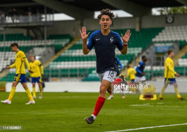 Dublin Ireland 6 May 2019 Adil Aouchiche of France celebrates after scoring his side's second goal of the game during the 2019 UEFA European Under17...