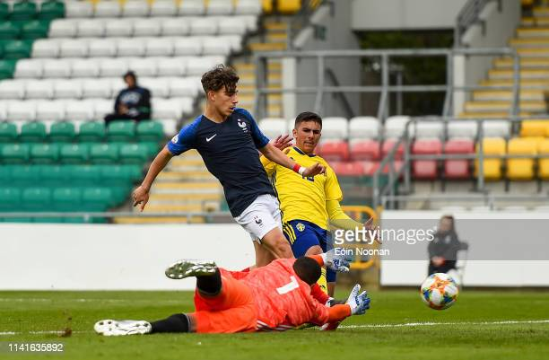 Dublin Ireland 6 May 2019 Adil Aouchiche of France scores his side's first goal of the game during the 2019 UEFA European Under17 Championships Group...