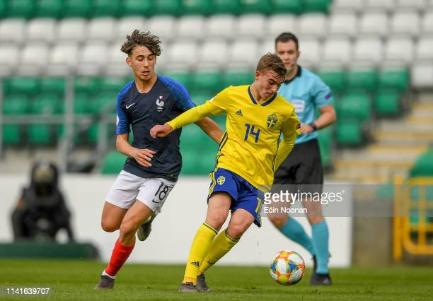 Dublin Ireland 6 May 2019 Aleksander Nilsson of Sweden in action against Adil Aouchiche of France during the 2019 UEFA European Under17 Championships...