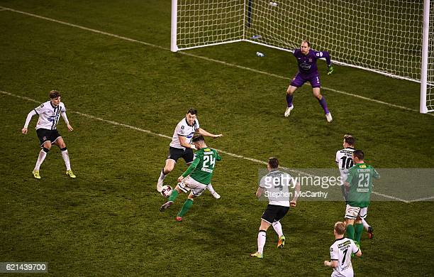 Dublin Ireland 6 November 2016 Seán Maguire of Cork City scores his side's first goal during the Irish Daily Mail FAI Cup Final match between Cork...