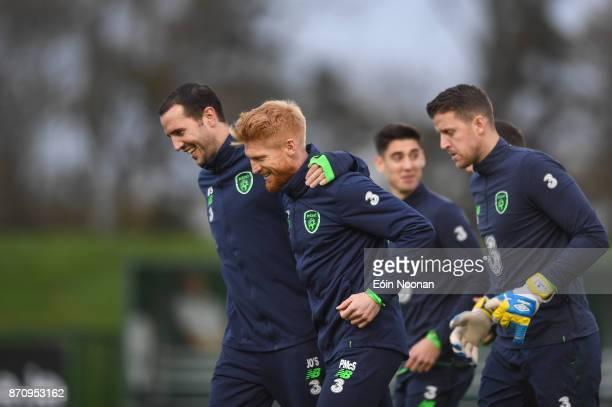 Dublin Ireland 6 November 2017 John O'Shea left and Paul McShane of Republic of Ireland during Squad Training at FAI National Training Centre in...