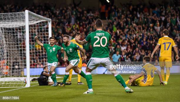 Dublin Ireland 6 October 2017 Daryl Murphy of Republic of Ireland celebrates after scoring his side's first goal during the FIFA World Cup Qualifier...