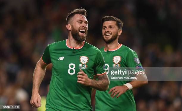 Dublin Ireland 6 October 2017 Daryl Murphy of Republic of Ireland celebrates after scoring his side's second goal with teammate Shane Long right...