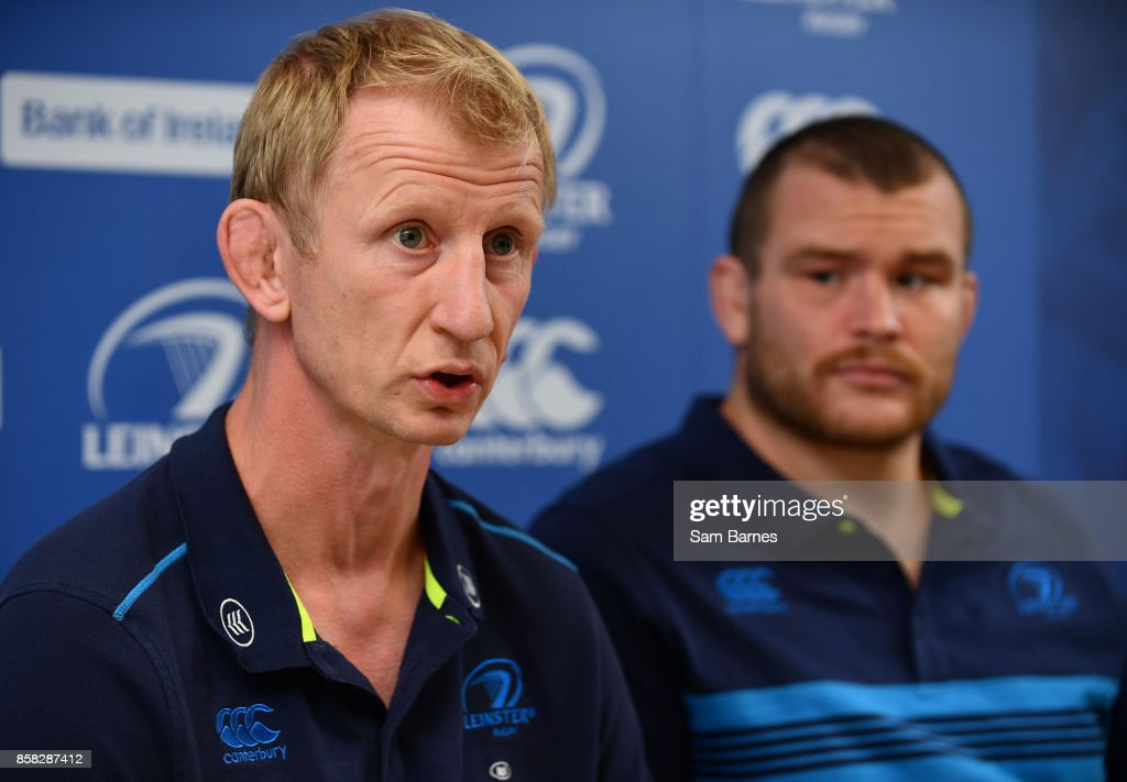 Dublin , Ireland - 6 October 2017; Leinster head coach Leo Cullen and Jack McGrath of Leinster during Leinster Rugby Press Conference at Leinster Rugby HQ, UCD, Belfield, in Dublin.
