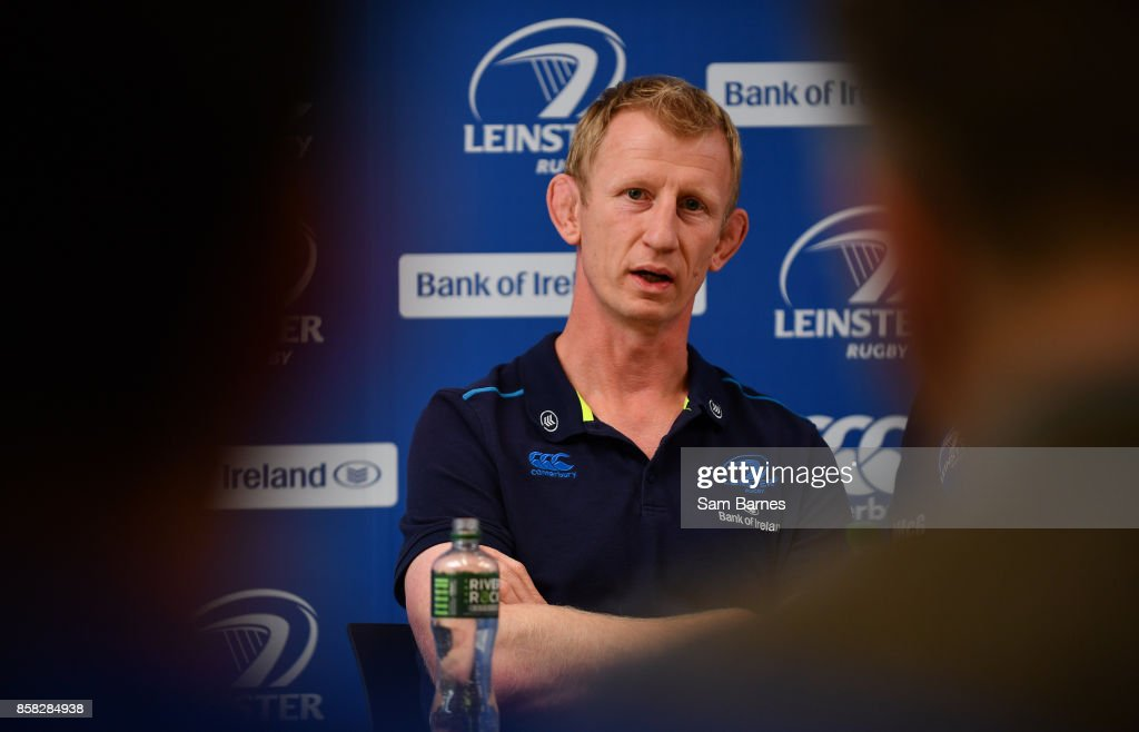 Dublin , Ireland - 6 October 2017; Leinster head coach Leo Cullen during Leinster Rugby Press Conference at Leinster Rugby HQ, UCD, Belfield, in Dublin.