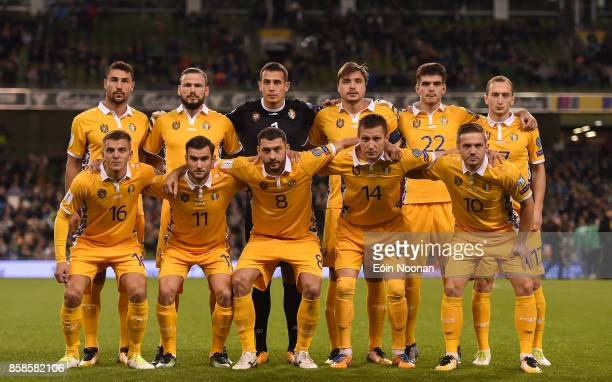 Dublin Ireland 6 October 2017 Moldova team during the FIFA World Cup Qualifier Group D match between Republic of Ireland and Moldova at Aviva Stadium...