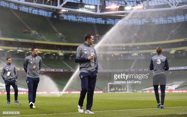 Dublin Ireland 6 October 2017 Republic of Ireland players from left Robbie Brady Shane Duffy John O'Shea and James McClean prior to the FIFA World...
