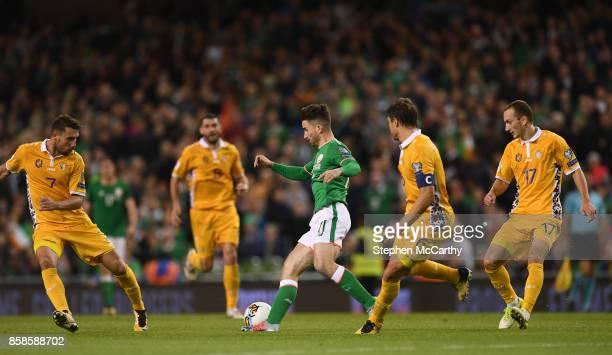 Dublin Ireland 6 October 2017 Sean Maguire of Republic of Ireland in action against Moldova players from left Artur Ionia Alexandru Epureanu and...