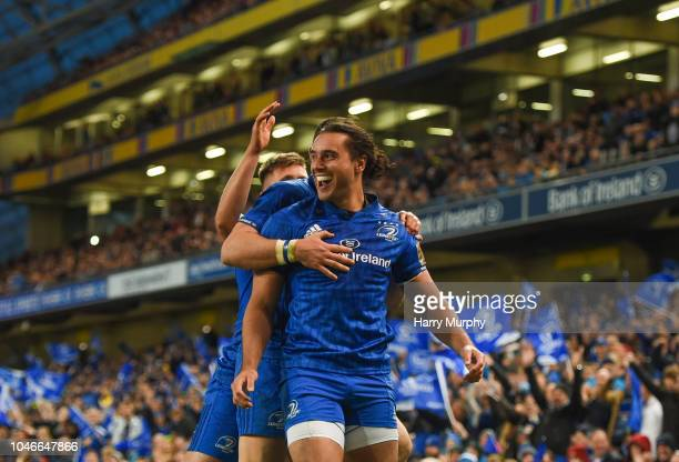 Dublin , Ireland - 6 October 2018; James Lowe of Leinster celebrates scoring his sides third try with team mates during the Guinness PRO14 Round 6...