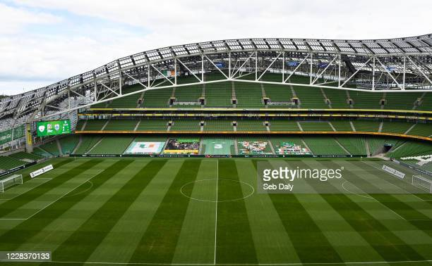 Dublin , Ireland - 6 September 2020; A general view of the pitch and stadium prior to the UEFA Nations League B match between Republic of Ireland and...