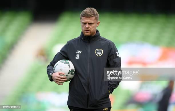 Dublin , Ireland - 6 September 2020; Republic of Ireland coach Damien Duff during the UEFA Nations League B match between Republic of Ireland and...