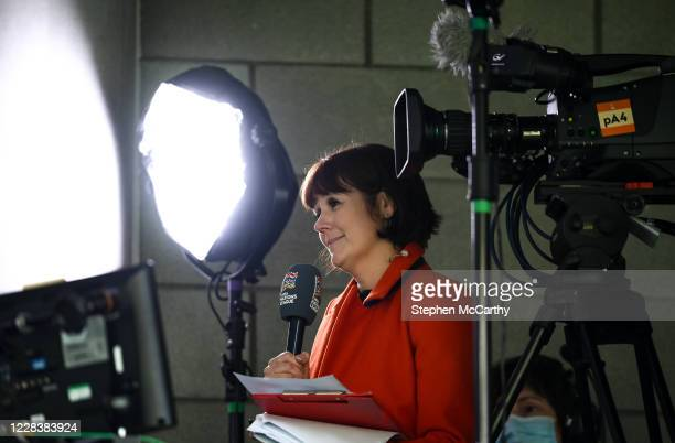 Dublin Ireland 6 September 2020 Sky Sports reporter Gráinne McElwain during the UEFA Nations League B match between Republic of Ireland and Finland...