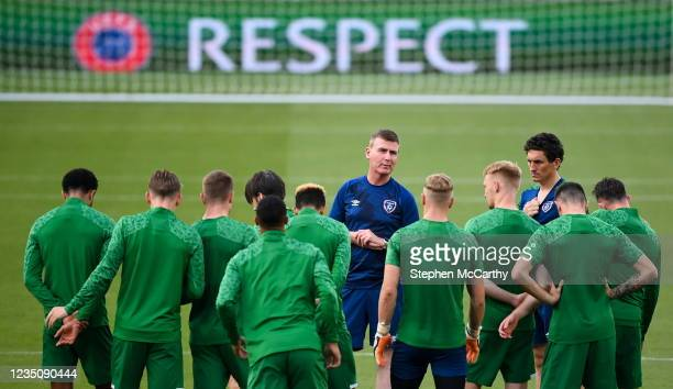 Dublin , Ireland - 6 September 2021; Manager Stephen Kenny speaks to his players during a Republic of Ireland training session at Aviva Stadium in...