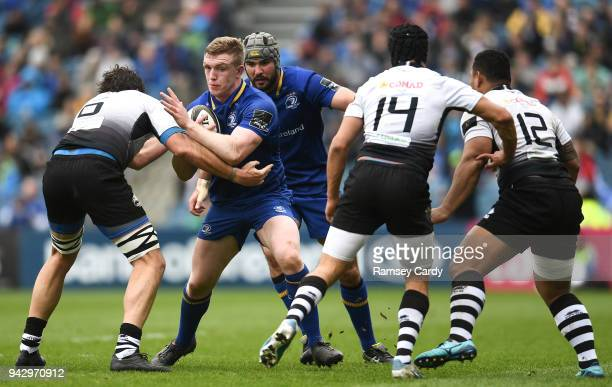 Dublin Ireland 7 April 2018 Dan Leavy of Leinster is tackled by Valerio Bernabò left Gabriele Di Giulio centre and Faialaga Afamasaga of Zebre during...