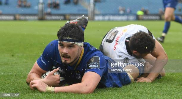 Dublin Ireland 7 April 2018 Max Deegan of Leinster after scoring a try during the Guinness PRO14 Round 19 match between Leinster and Zebre at the RDS...