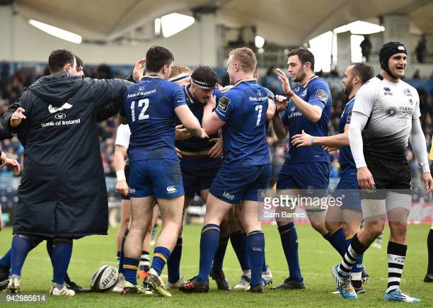 Dublin Ireland 7 April 2018 Max Deegan of Leinster centre celebrates with teammates after scoring his side's third try during the Guinness PRO14...