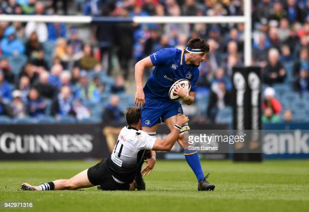 Dublin Ireland 7 April 2018 Max Deegan of Leinster is tackled by Mattia Bellini of Zebre during the Guinness PRO14 Round 19 match between Leinster...