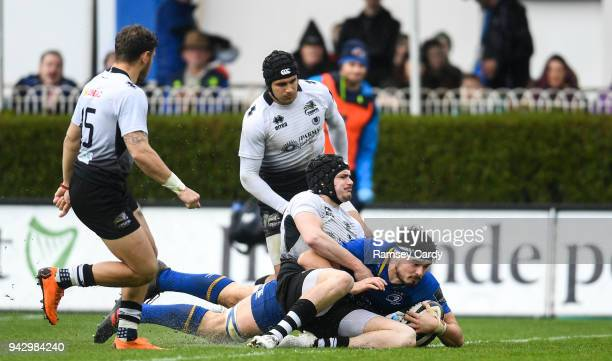 Dublin Ireland 7 April 2018 Max Deegan of Leinster scores his side's third try during the Guinness PRO14 Round 19 match between Leinster and Zebre at...