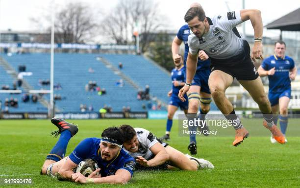 Dublin Ireland 7 April 2018 Max Deegan of Leinster scores his side's fourth try during the Guinness PRO14 Round 19 match between Leinster and Zebre...
