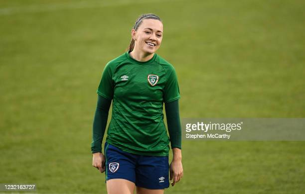 Dublin , Ireland - 7 April 2021; Katie McCabe during a Republic of Ireland training session at Tallaght Stadium in Dublin.