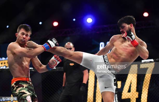 Dublin , Ireland - 7 July 2017; Ryan Curtis, right, in action against Daniel Barez during their flyweight bout at BAMMA 30 at the 3 Arena in Dublin.
