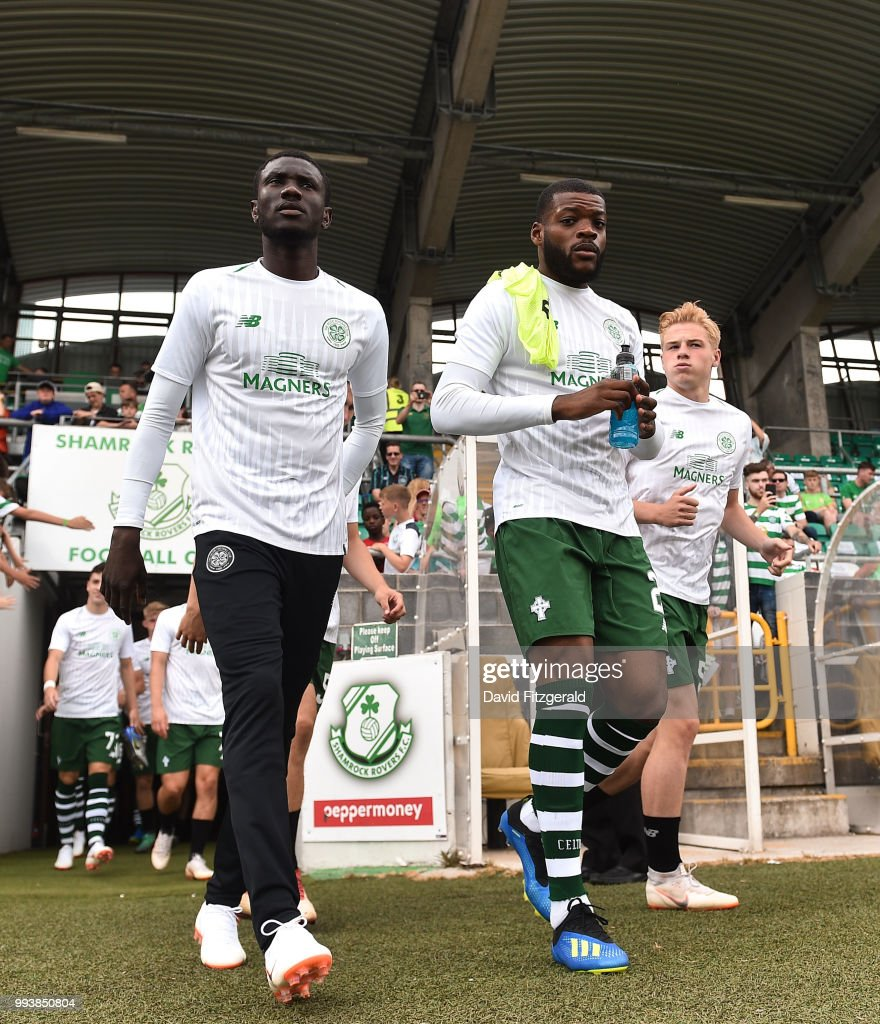 Dublin , Ireland - 7 July 2018; Oliver Ntcham, right, and Eboue Kouassi of Glasgow Celtic take to the field prior to the Soccer friendly between Shamrock Rovers and Glasgow Celtic at Tallaght Stadium in Tallaght, Co. Dublin.