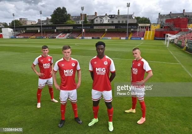 Dublin , Ireland - 7 July 2021; Players, from left, Darragh Burns, Ben McCormack, James Abankawh and Adam Murphy during a St Patrick's Athletic...
