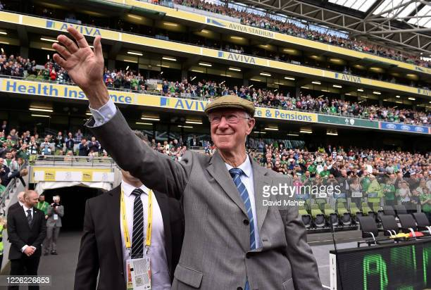 Dublin Ireland 7 June 2015 Former Republic of Ireland manager Jack Charlton is introduced to the crowd ahead of the Three International Friendly...