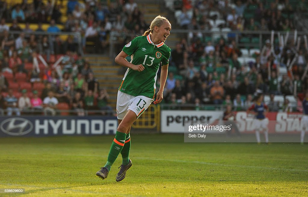 Dublin , Ireland - 7 June 2016; Stephanie Roche of Republic of Ireland celebrates after scoring her second, and her team's seventh goal of the match during the Women's 2017 European Championship Qualifier between Republic of Ireland and Montenegro in Tallaght Stadium, Tallaght, Co. Dublin.